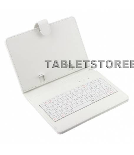 Кожен калъф с вградена клавиатура за 7 инча таблет-Бяла(KB7W) в tabletstorebg