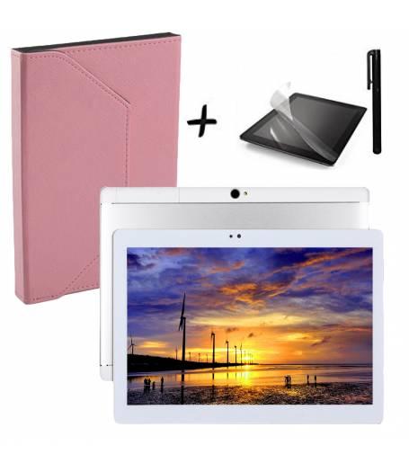 "Комплект Таблет Mediatek KT107 четири-ядрен процесор (1,3Ghz) 10.1"", 1280х800 IPS, 1GB RAM, 16GB,3G, GPS, Wi-Fi, Bluetooth, Marshmallow 6.0, Бял, Калъф, Протектор, Писалка"