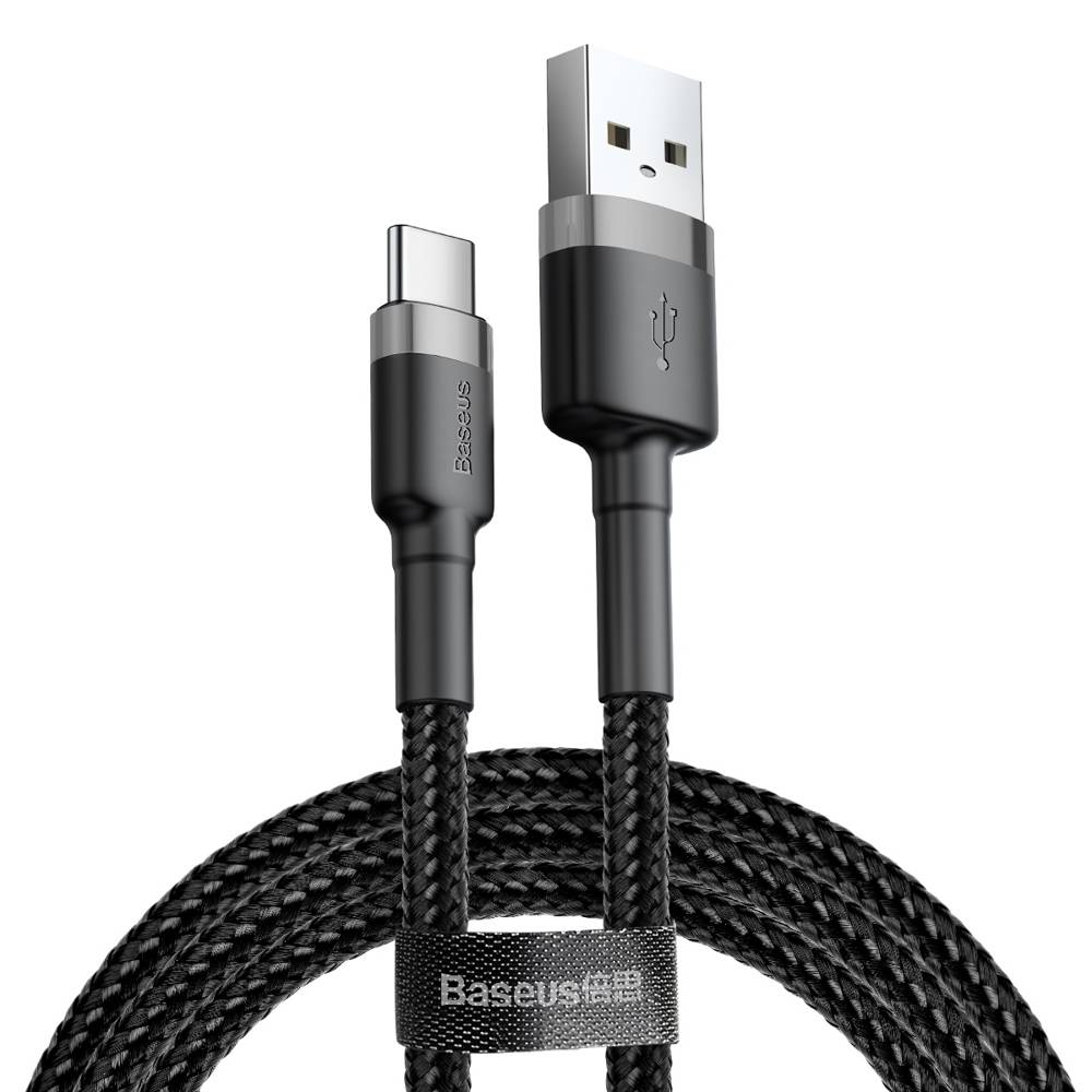 Data кабел Baseus Cafule USB / USB-C QC3.0 3A 1M Черен / Сив