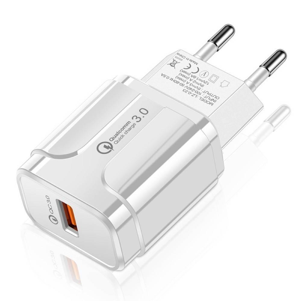 Мрежово зарядно KA Digital CH1 USB Бързо зареждане  QC3.0, 3А MAX, Бял