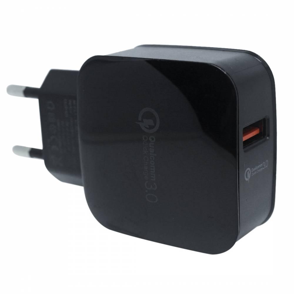 Мрежово зарядно KA Digital CH1 USB Бързо зареждане  QC3.0, 3А MAX, Черно