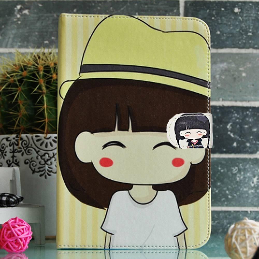Универсален калъф за таблет 7 инча момиче с жълта шапка(KK-7dgirlyelowhat) в tabletstorebg