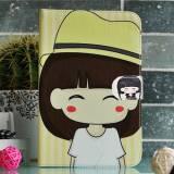 Универсален калъф за таблет 7 инча момиче с жълта шапка