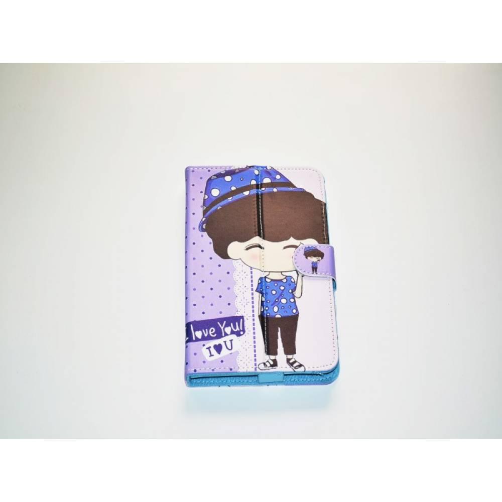 детски калъф 7 инча с картинки Момиче с синя шапка на точки в tabletstorebg