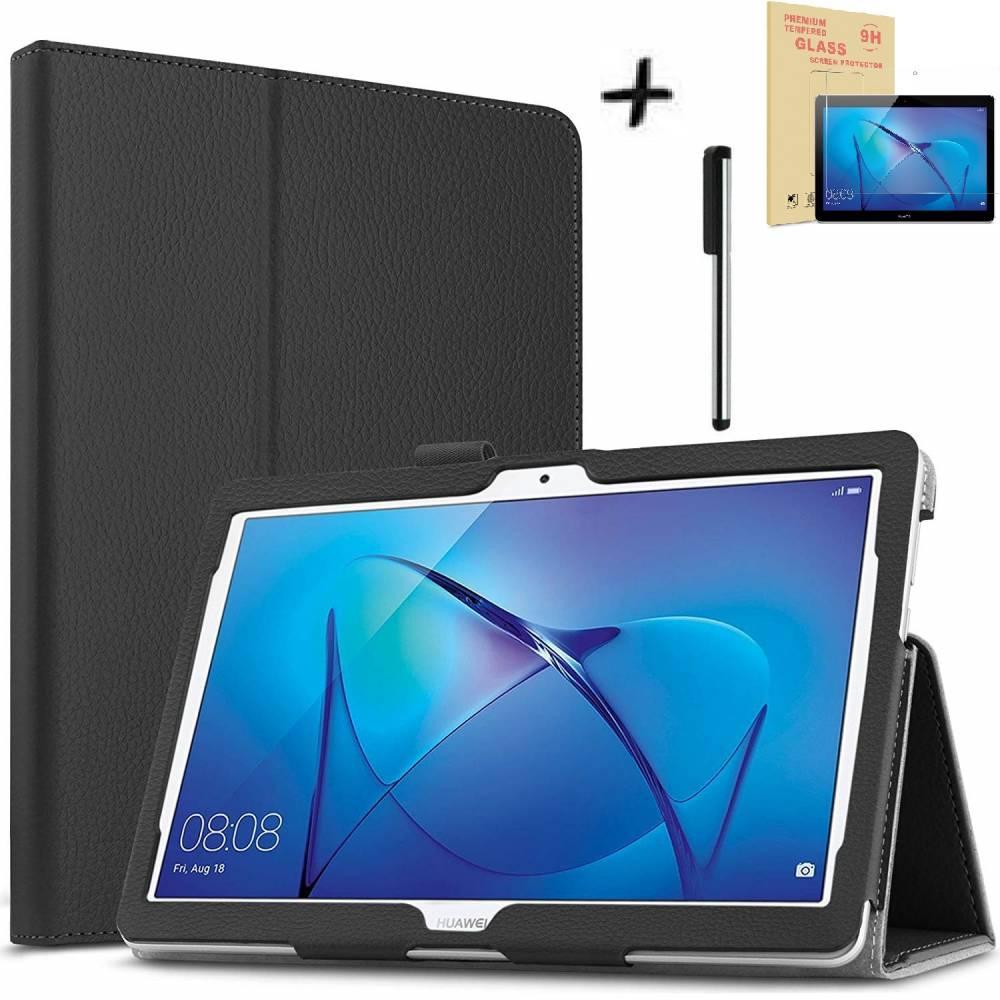 Комплект Ka Digital Калъф за таблет Huawei MediaPad T3 10 9.6 инча, закален протектор, писалка
