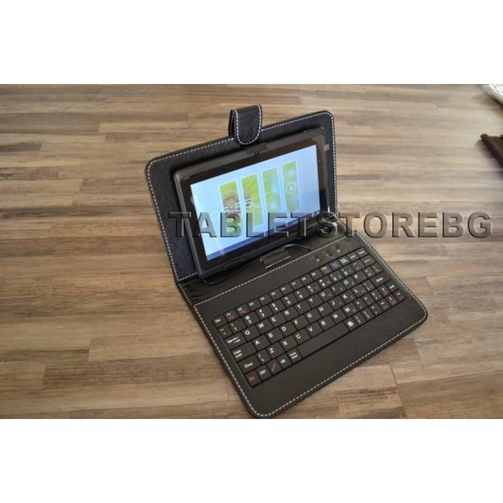 Черен двуядрен таблет 1.3Ghz 512ram 2 камери HDMI BG + Клавиатура(АТМ7B+kb) в tabletstorebg