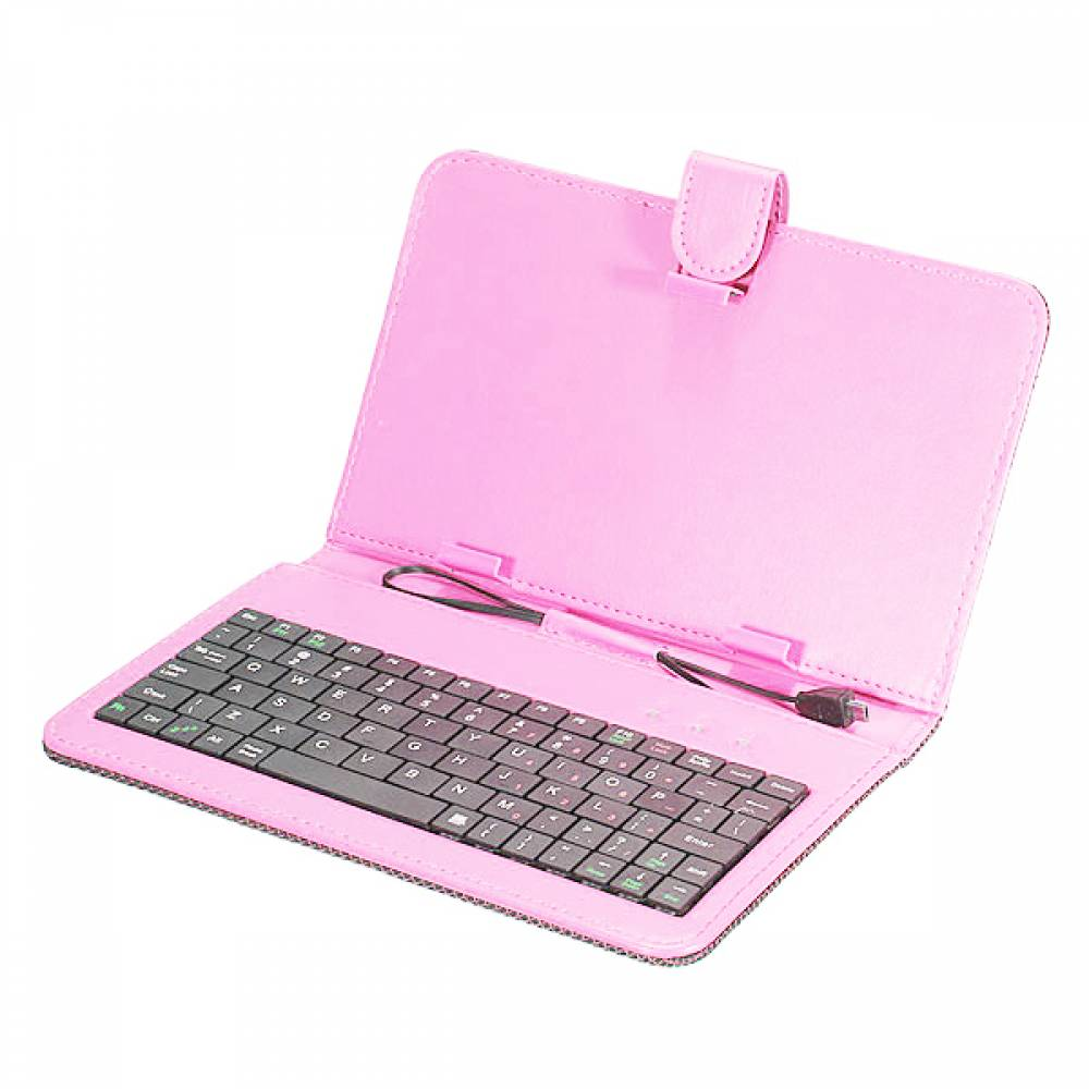 Кожен калъф с вградена клавиатура за 7 инча таблет-Розова(KB7п) в tabletstorebg