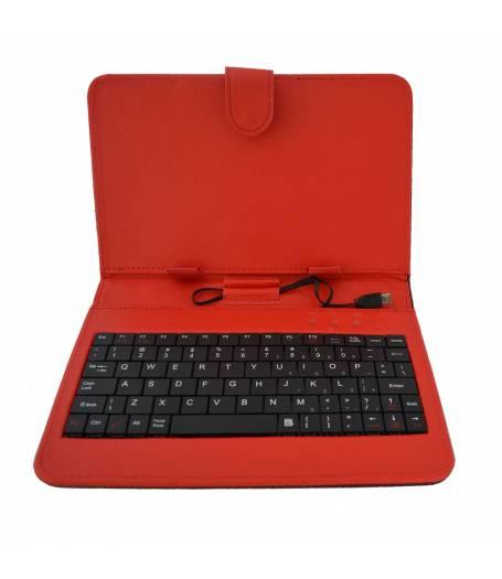 Кожен калъф с вградена клавиатура за 7 инча таблет-Червена(KB7п) в tabletstorebg