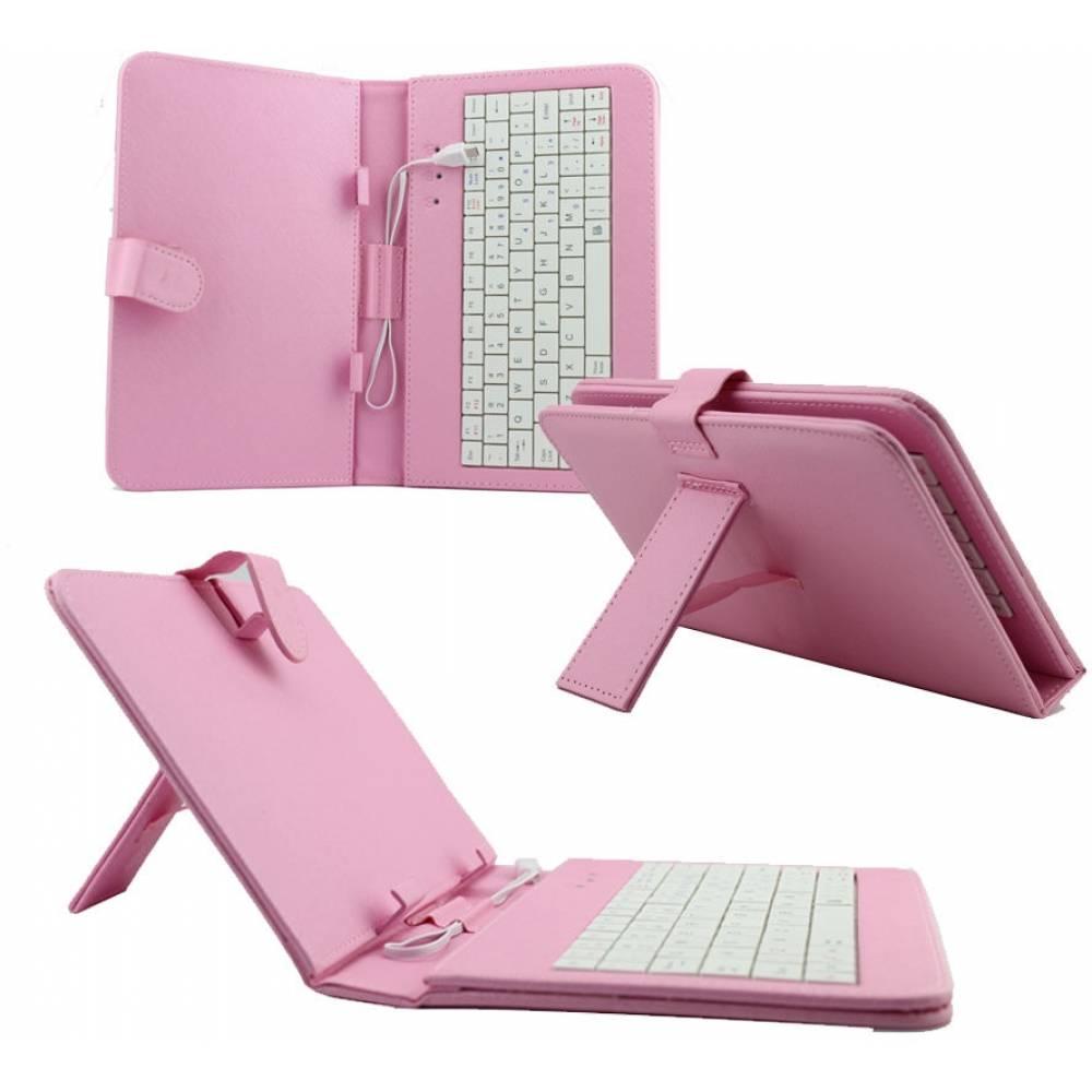 Кожен калъф с вградена клавиатура за 9 инча таблет-Розова(KB9B) в tabletstorebg