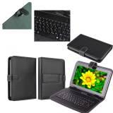 Кожен калъф с Кирилизирана клавиатура за 7 инча таблет-Черна