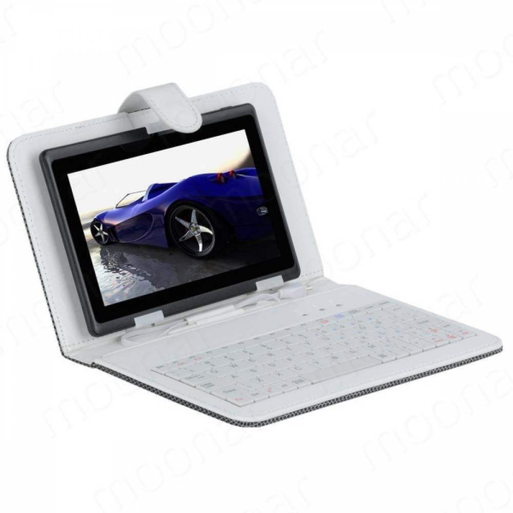 Кожен кариран калъф с вградена клавиатура за 7 инча таблет-Бяка(KB7B) в tabletstorebg