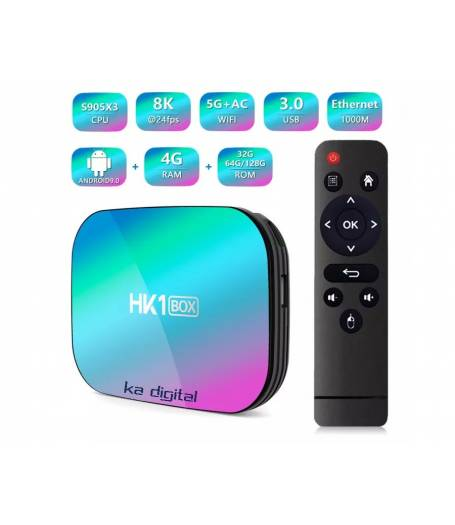 Мултимедия плеър KA Digital® HK1 Box-X3 Amlogic 905X3 Smart TV Box Android 9 8K 4GB Ram, 32GB памет 2.4G/5G WIFI USB 3.0