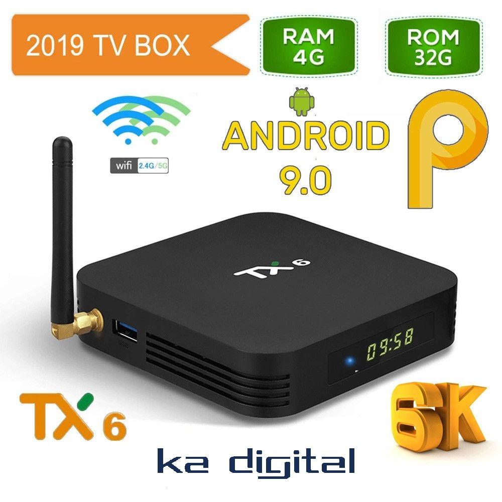 Мултимедия плеър KA Digital® TX6 ALLWINNER H6 Smart TV Box Android 9 6K 4GB Ram, 32GB памет 2.4G/5G WIFI USB 3.0