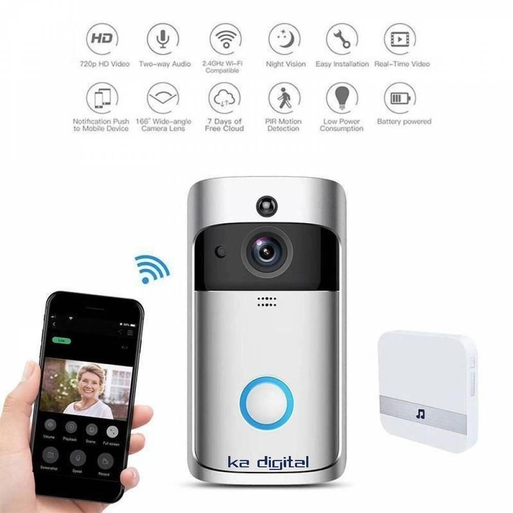 Видео звънец домофон KaDigital 720P интерком, Връзка със смартфон, Нощно виждане, Детектор за движение