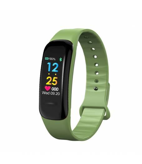 Смарт Фитнес гривна KaDigital C1 Plus BP HR, Кръвно налягане, Пулсомер, Цветен дисплей, Крачки, Разстояние, Калории, Зелена