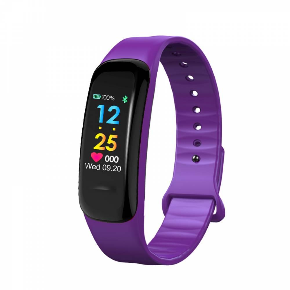Смарт Фитнес гривна KaDigital C1 Plus BP HR, Кръвно налягане, Пулсомер, Цветен дисплей, Крачки, Разстояние, Калории, Лилава