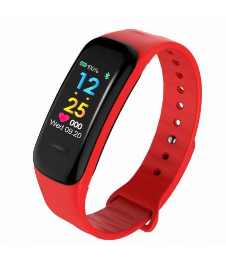 Смарт Фитнес гривна KaDigital C1 Plus BP HR, Кръвно налягане, Пулсомер, Цветен дисплей, Крачки, Разстояние, Калории, Червена