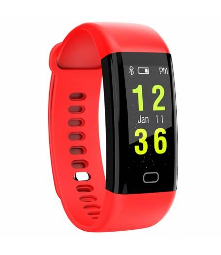 Фитнес гривна Smart Bracelet KA F07 BP/HR, Кръвно налягане, Пулсомер, Часовник,Крачки, Калории, Червена