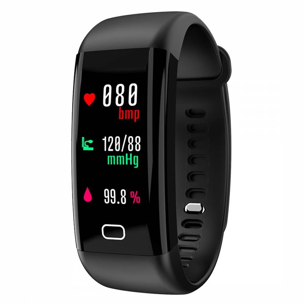 Фитнес гривна Smart Bracelet KA F07 BP/HR, Кръвно налягане, Пулсомер, Часовник,Крачки, Калории, Черна