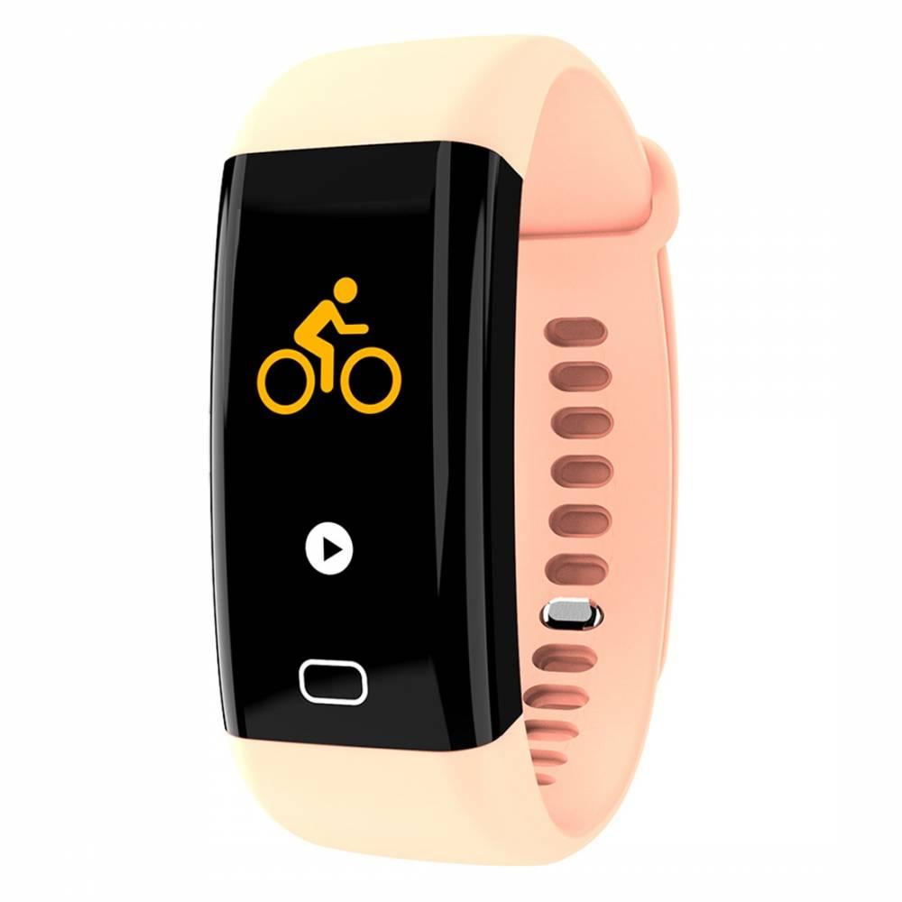 Фитнес гривна Smart Bracelet KA F07 BP/HR, Кръвно налягане, Пулсомер, Часовник,Крачки, Калории, Розова
