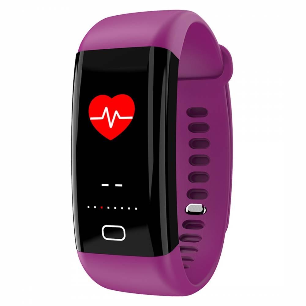 Фитнес гривна Smart Bracelet KA F07 BP/HR, Цветен дисплей, Кръвно налягане, Пулсомер, Часовник,Крачки, Калории, Лилава
