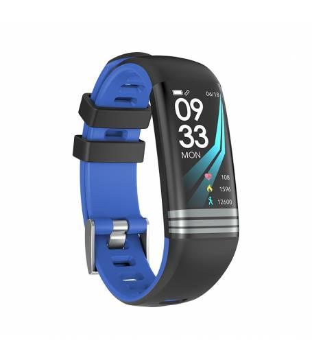 Смарт Фитнес гривна Smart Bracelet G26 S BP HR, Кръвно налягане, Пулсомер, Цветен дисплей, Крачки, Разстояние, Калории, Черна / Синя