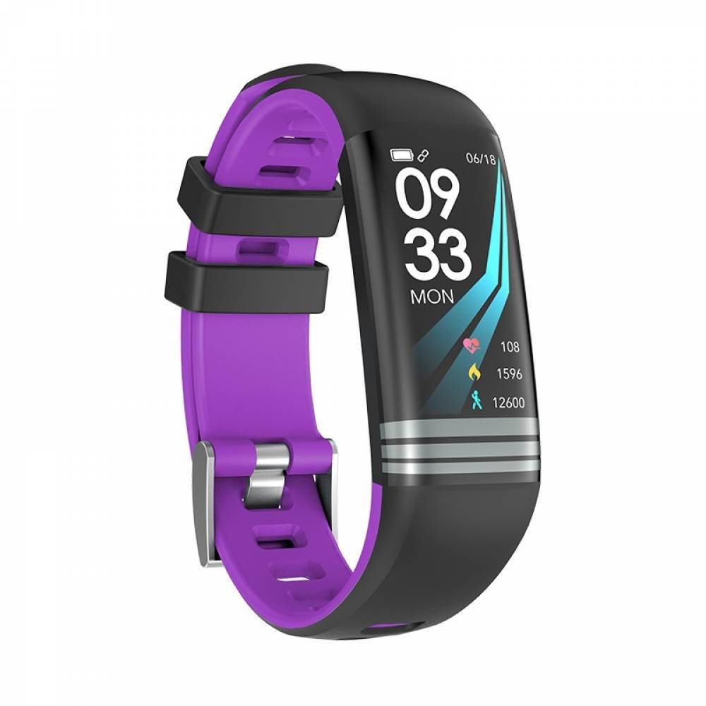 Смарт Фитнес гривна Smart Bracelet G26 S BP HR, Кръвно налягане, Пулсомер, Цветен дисплей, Крачки, Разстояние, Калории, Черна / Лилава
