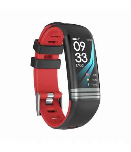 Смарт Фитнес гривна Smart Bracelet G26 S BP HR, Кръвно налягане, Пулсомер, Цветен дисплей, Крачки, Разстояние, Калории, Черна / Червена