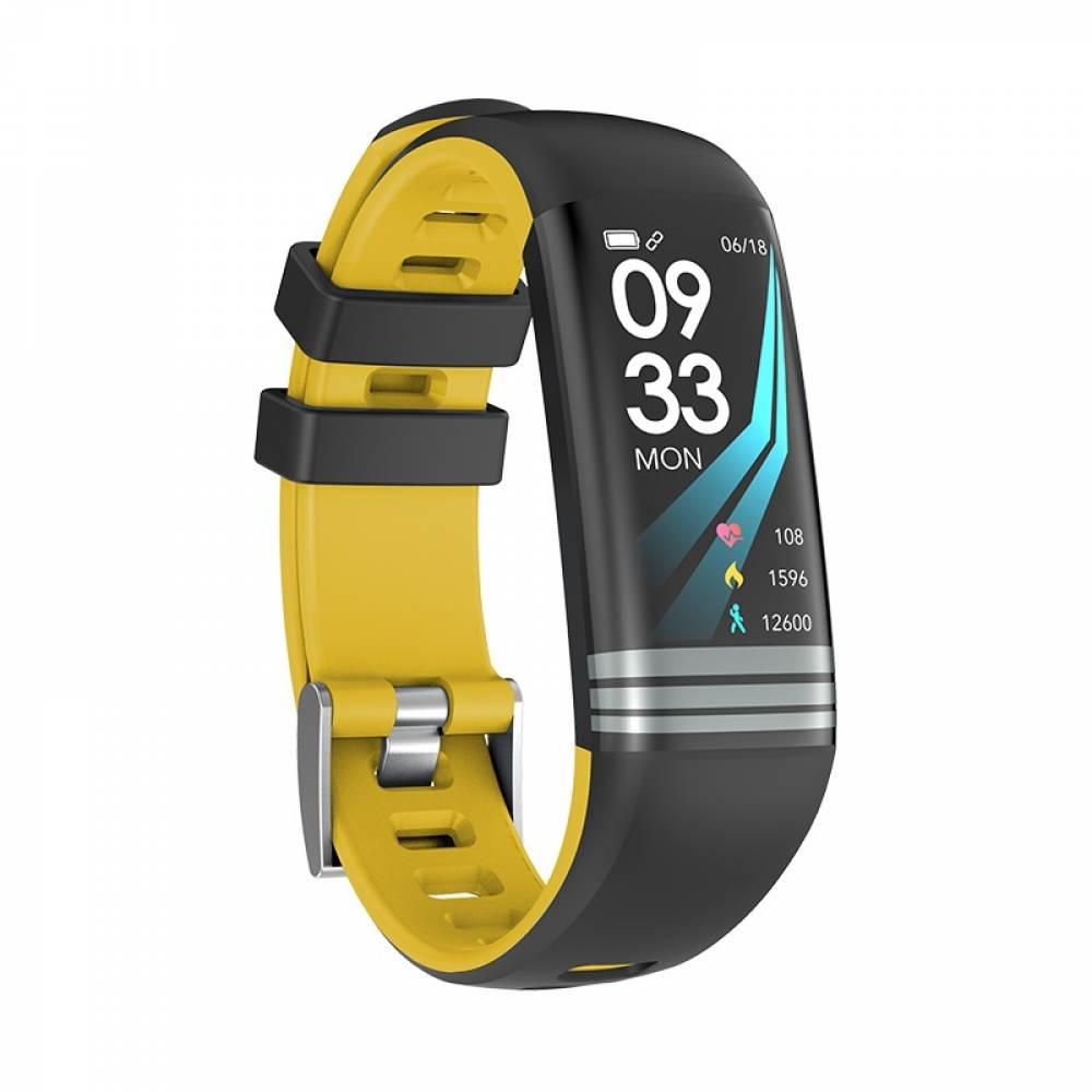 Смарт Фитнес гривна Smart Bracelet G26 S BP HR, Кръвно налягане, Пулсомер, Цветен дисплей, Крачки, Разстояние, Калории, Черна / Жълта