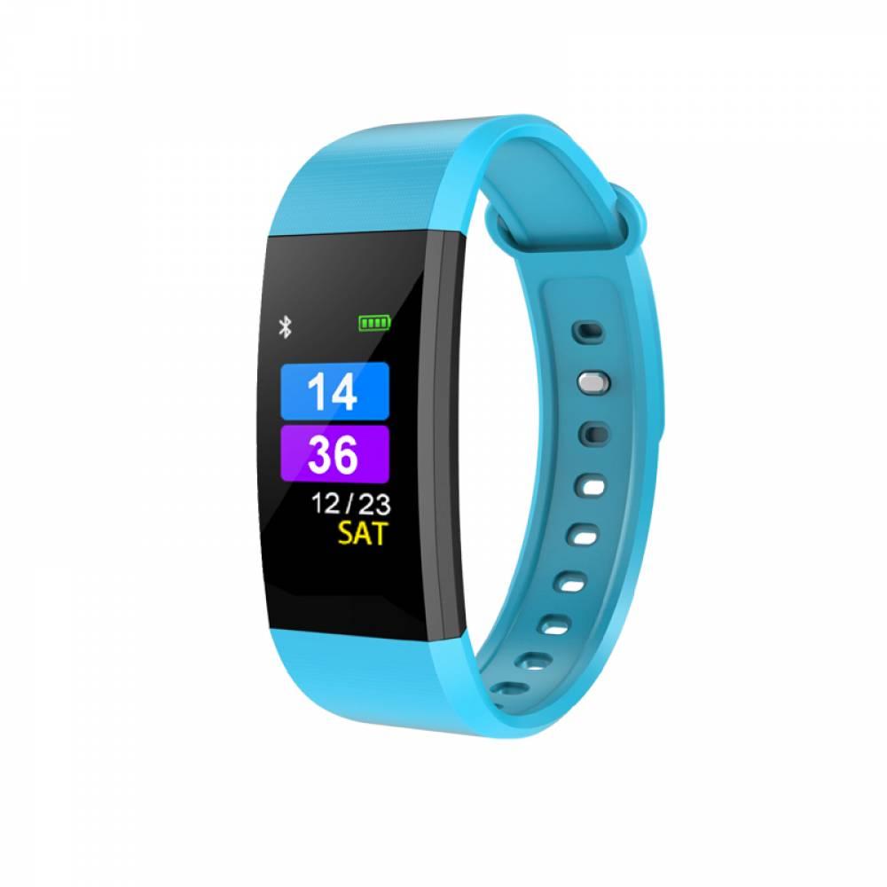 Фитнес гривна Ka Digital I9 BP HR, Кръвно налягане, Пулсомер, Цветен дисплей, Крачки, Разстояние, Калории., Синя
