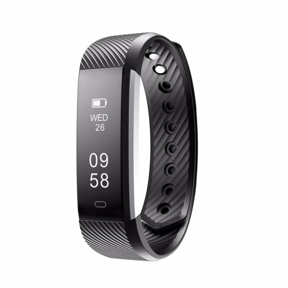 Фитнес гривна Smart Bracelet ID115HR, Heart Rate monitor,Черна
