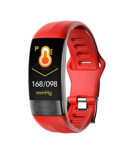 Фитнес гривна Ka Digital P11 ECG BP/HR, Електрокардиография, Кръвно налягане, Пулсомер, Крачки, Часовник, Червена