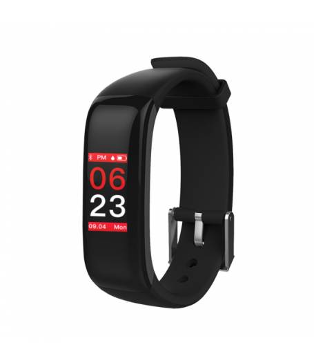 Фитнес гривна Smart Bracelet P1 Plus BP/HR, Кръвно налягане, Пулсомер, Цветен дисплей, Часовник, Черна