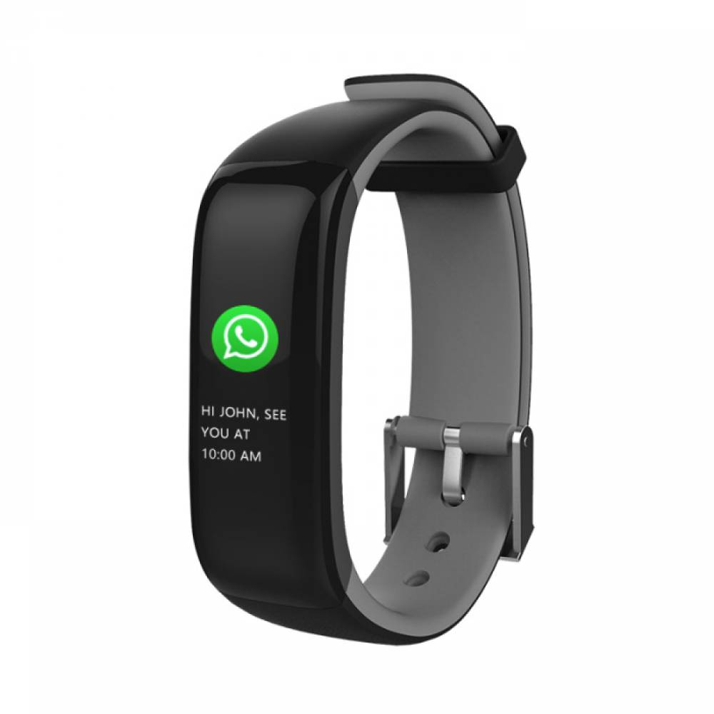 Фитнес гривна Smart Bracelet P1 Plus BP/HR, Кръвно налягане, Пулсомер, Цветен дисплей, Часовник, Сива