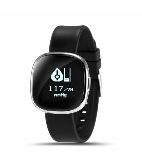 Фитнес гривна Smart Bracelet P2 BP/HR, Кръвно налягане, Пулс, OLED, Крачки, Калории, Часовник, IP68, Черна