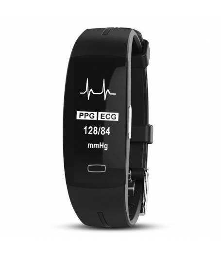 Фитнес гривна Smart Bracelet P3 ECG BP/HR, Електрокардиография, Кръвно налягане, Пулсомер, Крачки, Часовник, Черна