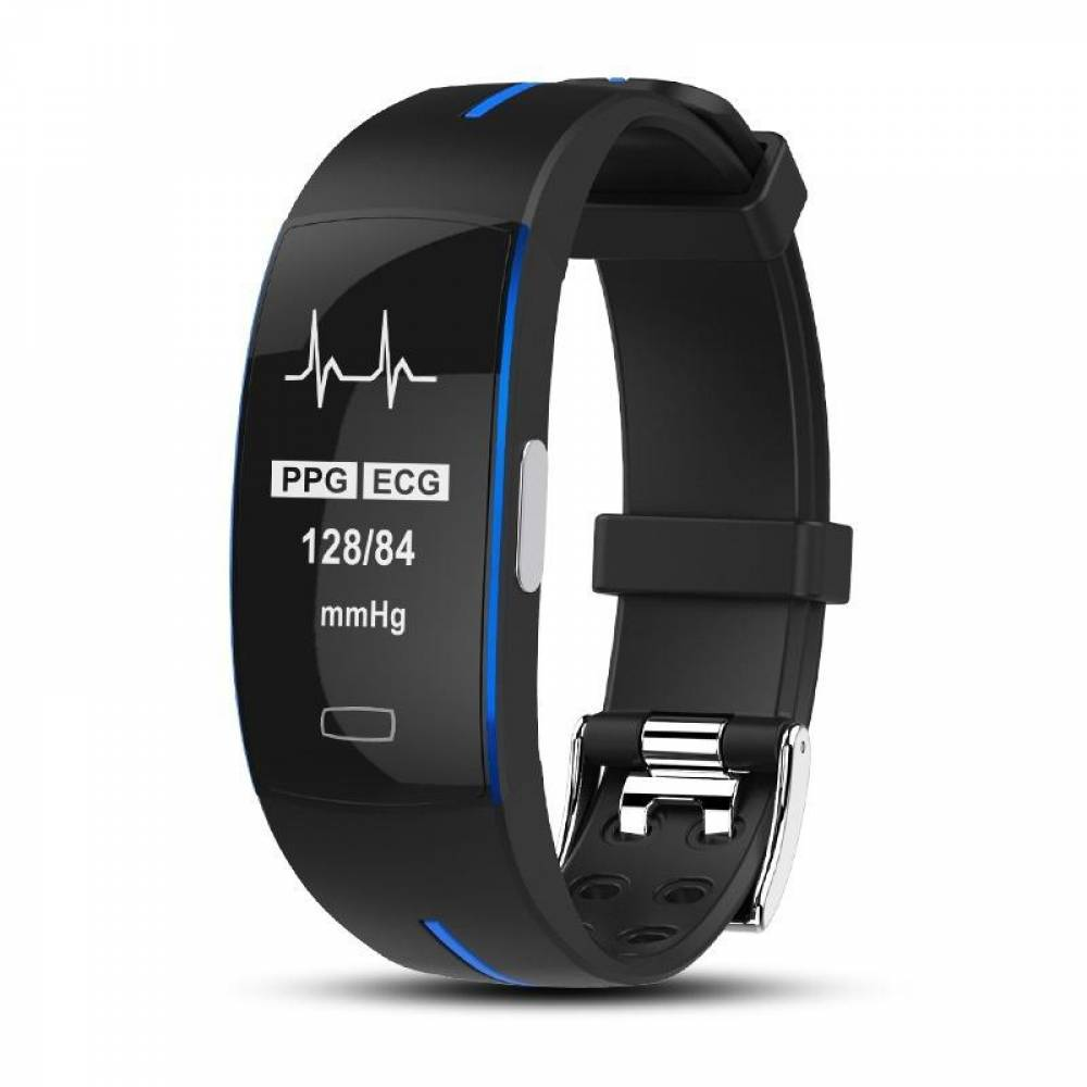 Фитнес гривна Smart Bracelet P3 ECG BP/HR, Електрокардиография, Кръвно налягане, Пулсомер, Крачки, Часовник, Синя