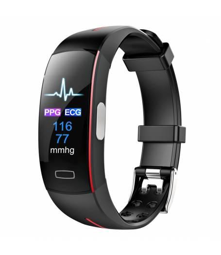 Фитнес гривна Smart Bracelet P3 Plus ECG BP/HR, Електрокардиография, Кръвно налягане, Пулсомер, Крачки, Часовник, Червена