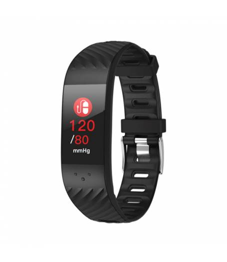 Фитнес гривна Smart Bracelet P4 BP/HR, Кръвно налягане, Пулсомер, Цветен дисплей, Часовник, Черна