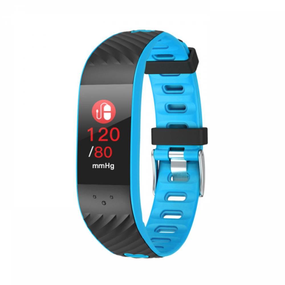 Фитнес гривна Smart Bracelet P4 BP/HR, Кръвно налягане, Пулсомер, Цветен дисплей, Часовник, Синя