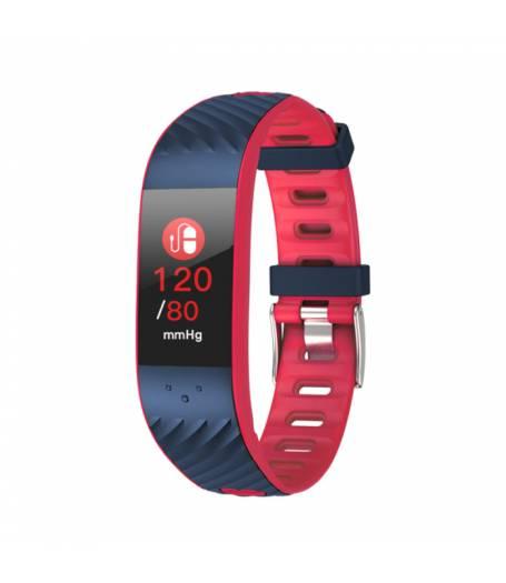 Фитнес гривна Smart Bracelet P4 BP/HR, Кръвно налягане, Пулсомер, Цветен дисплей, Часовник, Син / Червен