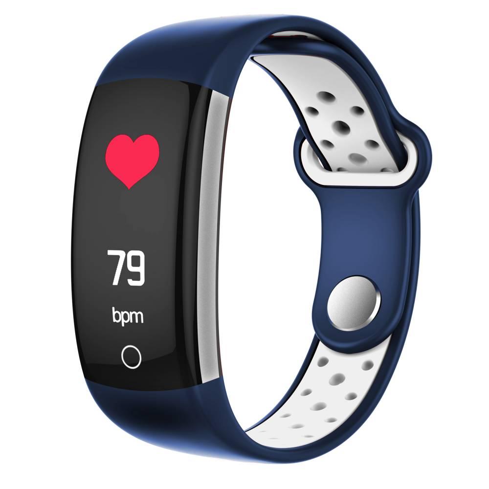 Фитнес гривна Smart Bracelet Q6 BP/HR, Кръвно налягане, Пулсомер, Цветен дисплей, Крачки, Разстояние, Калории., Синя / Бяла