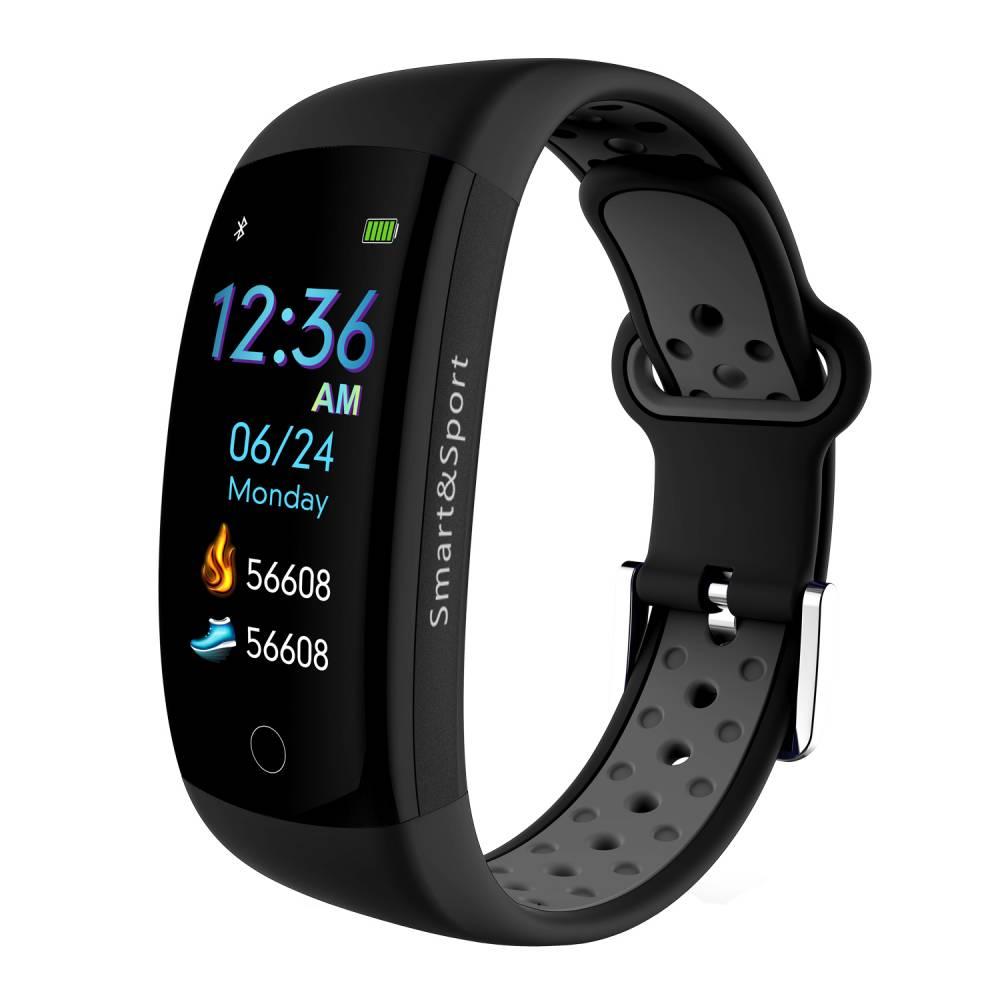 Фитнес гривна Smart Bracelet KA Q6 S BP HR, Кръвно налягане, Пулсомер, 3D Цветен дисплей, Крачки, Разстояние, Калории., Черна / Сива