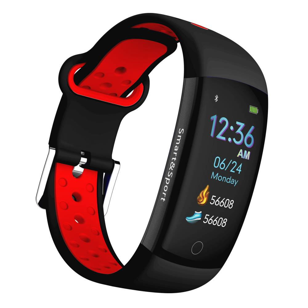 Фитнес гривна Smart Bracelet KA Q6 S BP HR, Кръвно налягане, Пулсомер, 3D Цветен дисплей, Крачки, Разстояние, Калории., Черна / Червена