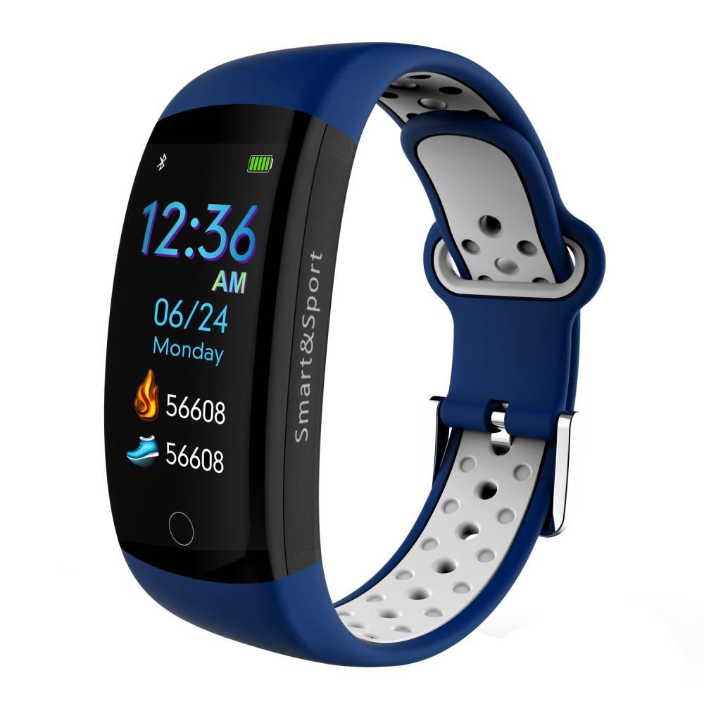 Фитнес гривна Smart Bracelet KA Q6 S BP HR, Кръвно налягане, Пулсомер, 3D Цветен дисплей, Крачки, Разстояние, Калории., Синя / Бяла