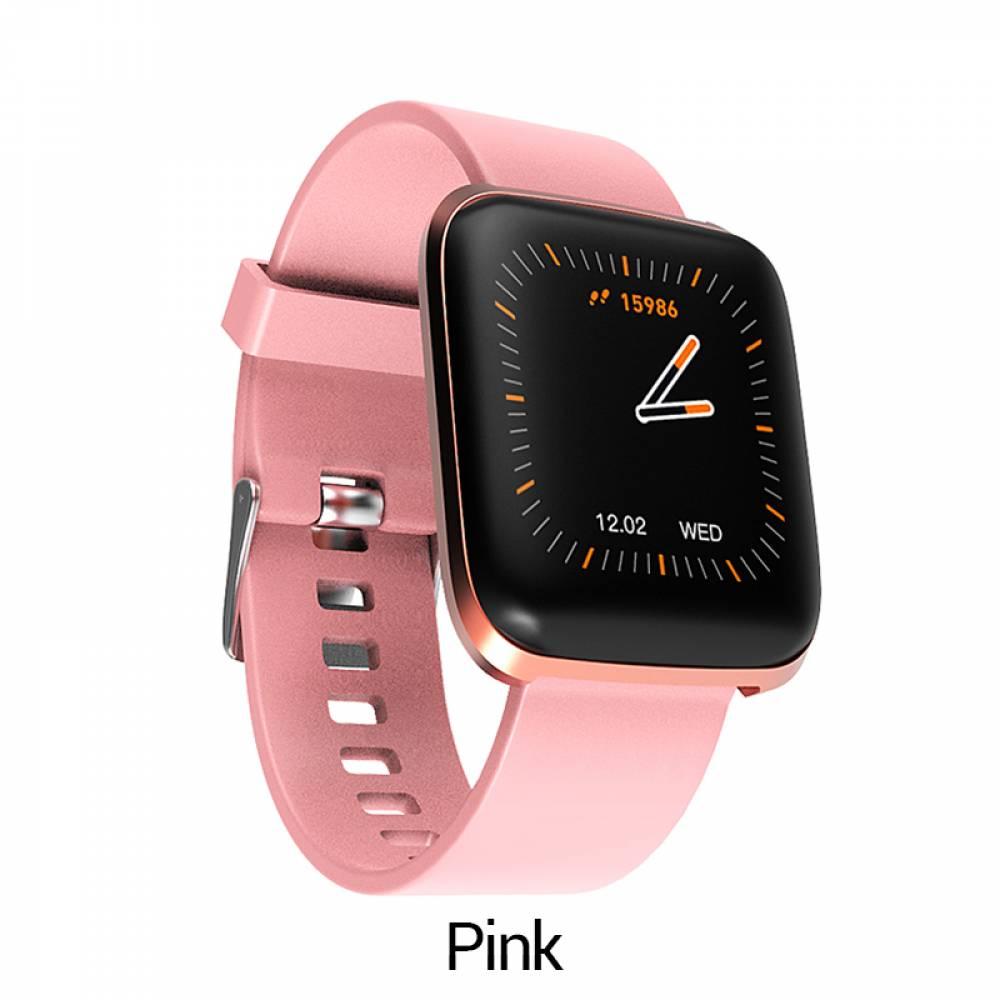 Смарт Часовник KA Digital® W5, Пулс,Кръвно налягане, Kрачки, Разстояние,Мултиспорт, Bluetooth, Розов