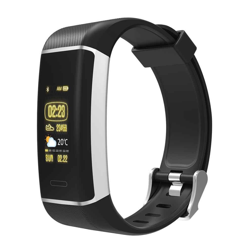 Фитнес гривна Smart Bracelet W7 GPS HR, Пулсомер,  Крачки, Часовник, Черна
