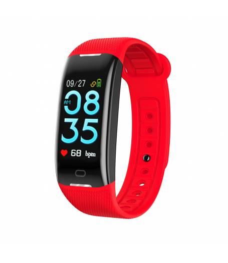 Фитнес гривна KA Digital® Z21, Кръвно налягане, Heart Rate monitor, Multi-sport, Фитнес монитор, Крачки, Калории, Червена