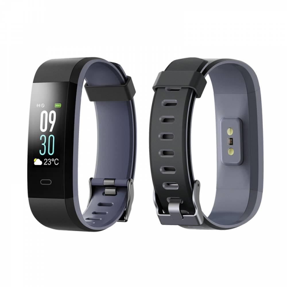 Фитнес гривна Smart Bracelet ID115 Plus C, Heart Rate monitor, Multi-sport, Цветен дисплей, Фитнес монитор, Крачки, Калории, Черна / Сива