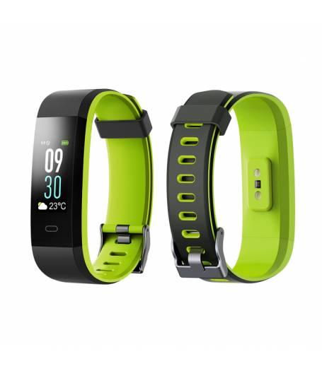 Смарт Фитнес гривна Smart Bracelet ID115 Plus C, Heart Rate monitor, Multi-sport, Цветен дисплей, Фитнес монитор, Крачки, Калории, Черна / Зелена